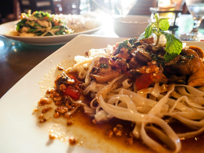 Delicious Noodles with Basil Ginger Mushroom