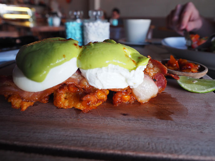 Corn Fritters with Eggs and Avo Hollondaise