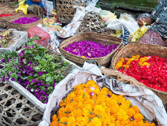 Flowers For Offerings At Ubud Traditional Markets