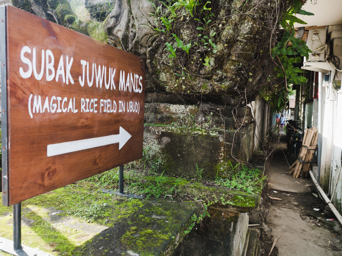 Subak Juwuk Manis Rice Field Walk Sign on Jalan Raya Ubud