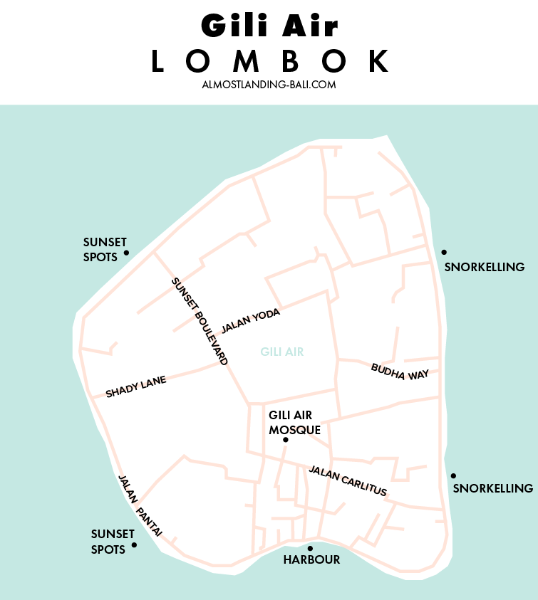 Gili Air Map Lombok