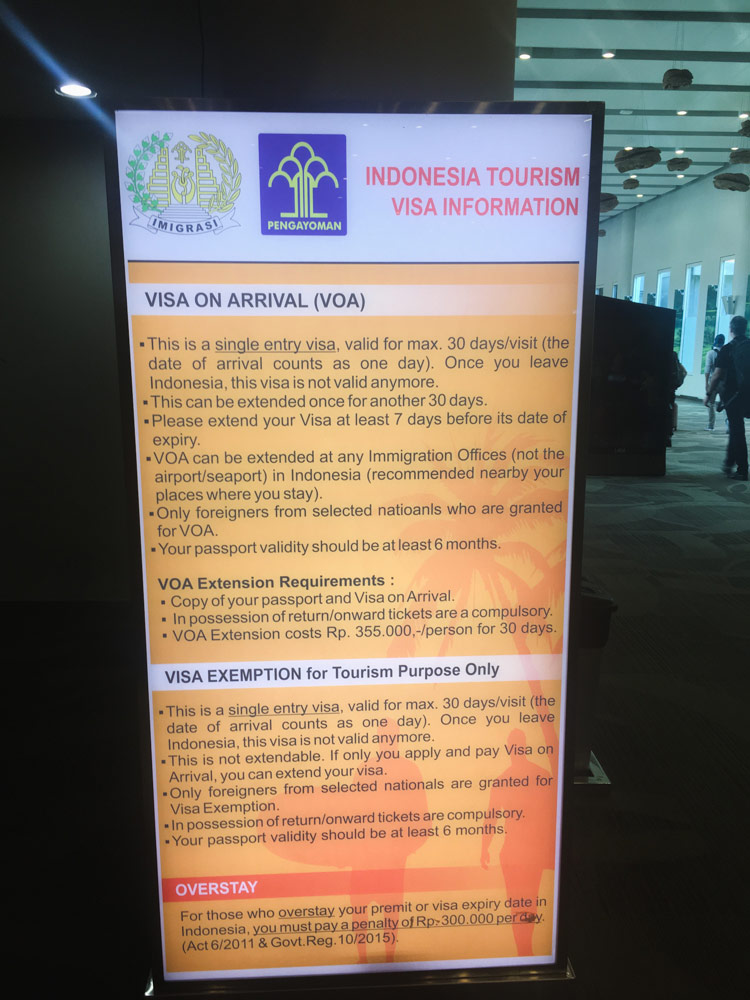 Indonesian Visa On Arrival Information